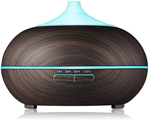 UWY Difusor de Aceite Esencial de 500 ml - Difusor/humidificador de aromaterapia con Cool Mist 4 Timer 7 Purificador de Aire de luz LED de Colores (Grano de Madera Negro)