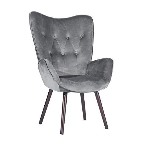 Mueble Cosy - Gran sillón de Estilo escandinavo con un Revestimiento de Terciopelo Gris, reposabrazos Acolchados y Patas de Madera Maciza, 68,5 x 33,5 x 75 cm