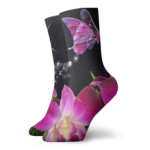 WEEDKEYCAT Pink Butterfly Best Adult Short Socks Cotton Fun Socks for Mens Womens Yoga Hiking Cycling Running Soccer Sports