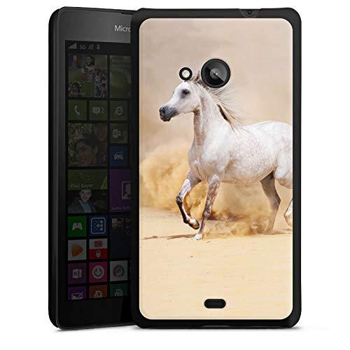 DeinDesign Hard Case kompatibel mit Microsoft Lumia 535 Dual SIM Schutzhülle schwarz Smartphone Backcover Stute Hobby Pferd