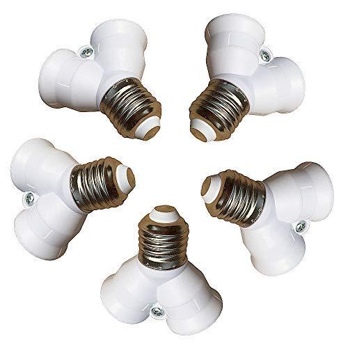 Eleidgs 5 PCS E27 vers E27 Adaptateur de Douille - E27 to 2 x E27 douille d'ampoule Y Type Adaptateur Distributeur