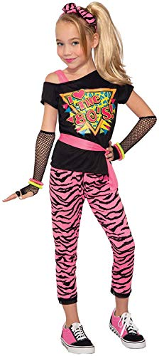 80s Wild Child Costume for Girls / Child sizes, M, L, pink tiger stripe pants and matching headband, pink belt, and black fishnet gloves