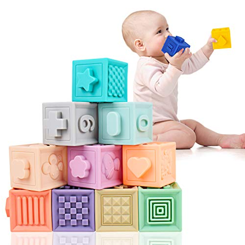 Baby Soft Blocks, Supkiir Safe Educational Building Blocks for Toddlers, Teething Chewing Squeeze Stackable Bath Toy for Kids with Numbers, Animals and Shapes for Matching Games