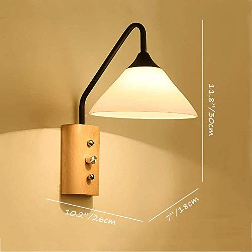 Nordic Modern Design Milchweiß Glaskegel Lampenschirm mit Holzfuß Wandleuchte Wandleuchte mit Schalter Schlafzimmer Wohnzimmer Arbeitszimmer (schwarz)-Schwarz