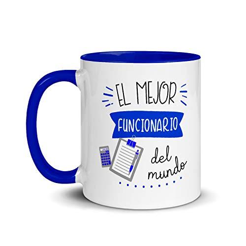 Kembilove Taza de Desayuno del Mejor Funcionario del Mundo – Tazas de Café de Profesiones y Trabajadores para la Oficina – Tazas de Té de Color para Profesionales – Taza de Cerámica de 350 Ml