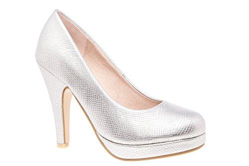 Elegante Pumps aus silbernem Lederimitat für Damen/Mädchen mit 10,0 cm Absatz, Plateau und runder Spitze – Hohe Schuhe/High-Heels – AM554 – EU 32