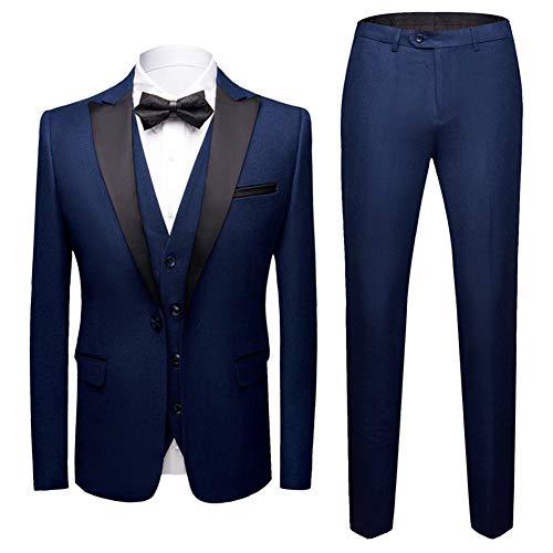 Sliktaa Costume Homme 3 Pièces Formel Smoking de Mariage Business Bal Veste Gilet et Pantalon,S,Bleu-Bleu Foncé