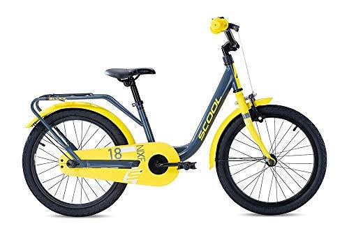 S'COOL Juniorbikes Mädchen S'COOL niXe Steel Kinderfahrrad, Grey/Yellow, 18