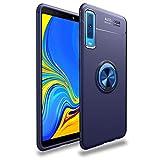 Samsung Galaxy A7 2018ケース TUPソフトシェル ケースリング付き 衝撃 落下 防止 指紋防止 防水滑り止め 薄型 スタンド機能 車載ホルダー 360回転 3D Touch対応 おしゃれ 軽量 薄い 携帯カバー (青)