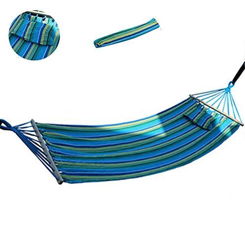 Beautiful happy Hamaca portátil de lona gruesa con bolsa de tela, almohada de palo, no deformable, diseño de palo de madera para acampar al aire libre y patio (color: Milán)