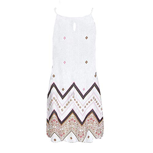 Women Halter Neck Boho Print Sleeveless Casual Mini Beachwear Dress Sundress Vestidos,White,L,C