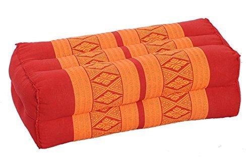 Handelsturm Coussin pour la Meditation Yoga 35x15x10 cm, Rembourrage Kapok, Design traditionell Thai Rouge-Orange