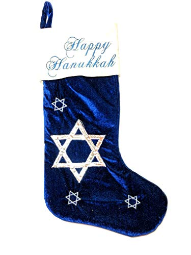 Nantucket Home Happy Hanukkah Stocking – Blue Velvet with Embroidery and Applique