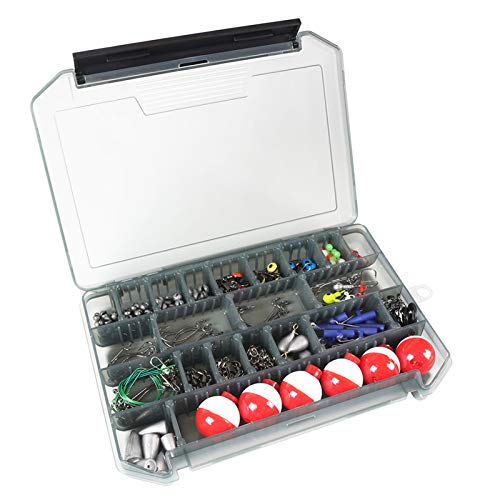 Baugger Fishing Accessories Kit, 228Pcs Fishing Accessories Kit Jig Hooks Bullet Bass Casting Weights Fishing Swivels Snaps Fishing Tackle Set with Tackle Box