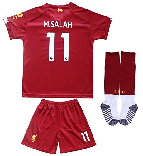 GamesDur Liverpool Mo Salah #11 Home Red Kids Soccer Jersey Set Shirt Short Socks Youth Sizes (Home (New 2019/2020), 6-7 Years)