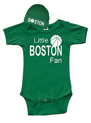 PandoraTees Short Sleeve Baby One-Piece and Cap Set - Little Boston Fan (0-3m, Kelly Green)