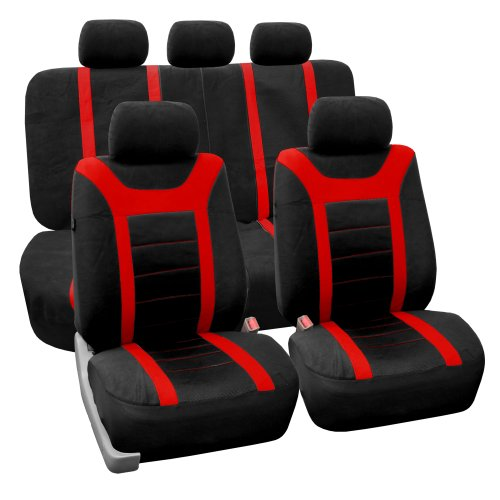 FH GROUP Universal Fit Full Set Sports Fabric Car Seat Cover with Airbag & Split Ready, (Red/Black)…