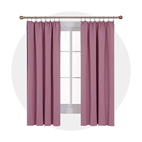 Deconovo Thermovorhang Blickdicht Gardinen Abdunklungsvorhang Lärmschutzvorhang mit Kräuselband 175x140 cm Rosa 2er Set