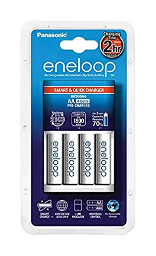 Panasonic Eneloop Chargeur + 4 piles LR06-AA Blanc - Version française