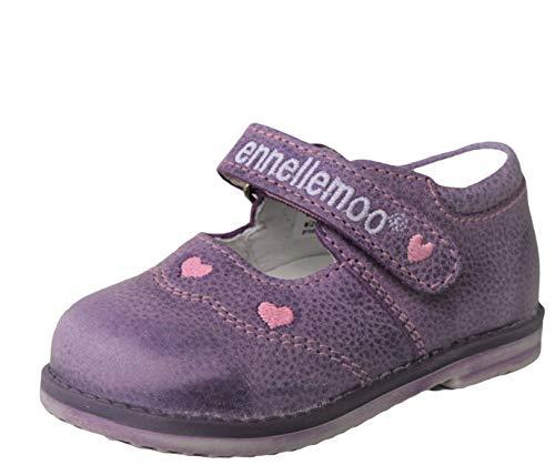ennellemoo® - Baby-Mädchen-Kinder-Ballerinas-echt Leder-Schuhe-Halbschuhe-Pumps-Slipper-Lauflernschuhe-Klettverschluss-Volllederschuhe-atmungsaktiv. (25, Violett/Rose)