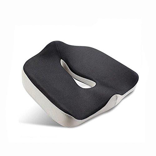 WGE Comfort Memory Foam luxe zitkussen, orthopedisch ontwerp om rug, ischias en staartbeen pijn te verlichten voor de meeste bureaustoelen, rolstoelen, autostoelen en vliegtuigstoelen