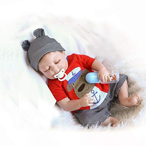 iCradle Full Body Vinyl Silicone Reborn Toddler Doll 18inch 45cm Realistic Looking Reborn Baby Boy Dolls Real Lifelike Anatomically Correct with Dummy Fashion Dollls