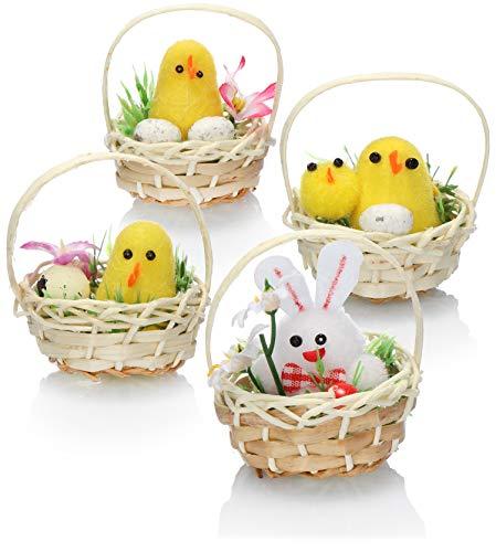 COM-FOUR® 4x paasmand met kuiken en konijn - paasmanden voor de lentedecoratie - rieten manden met decoratieve figuren - paasdecoratie - kuikendecoratie (04 stuks - kopjes)