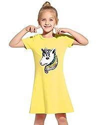 Yellow Cotton Short Sleeves Unicorn T-Shirt Dress