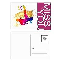 サッカー選手のバイシクルキックを応援した ポストカードセットサンクスカード郵送側20個ミス