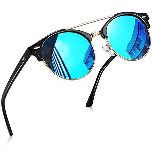 Joopin Gafas de Sol Polarizadas Hombre Redondas Clásico Vintage Retro Puente Doble Media Montura Gafas Mujeres Espejo Lente Azul