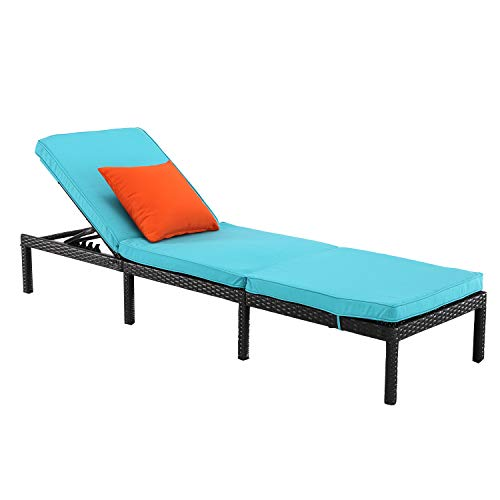 HTTH Rattan Chaise Lounge Outdoor Patio Chairs All-Weather Sun Chaise Lounge Furniture for Backyard, Pool Balcony Furniture (Turqouise)