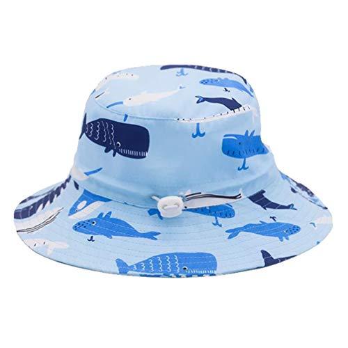TOYANDONA Niños Sombrero Protector Niño Cara Protector Cubo Sombrero Azul Tiburones Diseño Niños Sombrero para El Sol Verano Jugar Playa Cubo Tapa ala Ancha Protección UV 50Cm