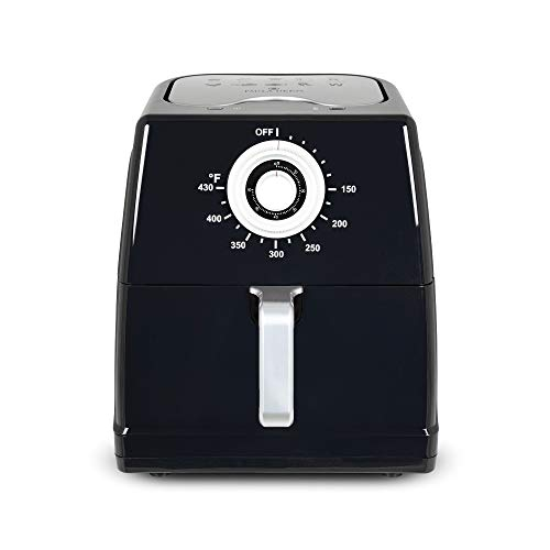 Paula Deen 8.5QT (1700 Watt) Large Air Fryer, Rapid Air Circulation System, Square Single Basket System, Ceramic Non-Stick Coating, Easy-to-Use Dial, Stainless Steel Interior, 50 Recipes (Black)