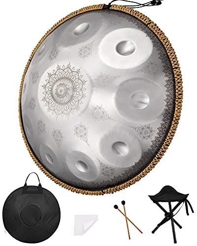 2021 Handpan-Schlagzeug in D-Moll, 10 Töne, 55,9 cm, D3/A3, Bb3, C4, D4, E4, F4, G4, A4, C5, Stahltrommeln für professionelle Audio-Produktion, Lasergravur verblasst nicht (10 Ton-Silber)