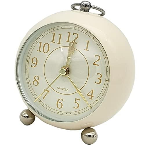 Silent, orologio da comodino, a batteria, orologio da scrivania, analogico, per camera da letto, stile vintage, sveglia con luce grande, per