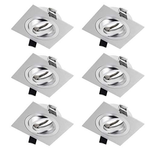 SEBSON Einbaustrahler eckig schwenkbar 6er Pack, Alu gebürstet Einbaurahmen Lochdurchmesser 80mm, Decken Spot inkl. GU10 Fassung für LED/Halogen