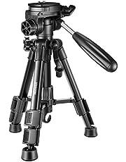Neewer Mini Travel tafel-camera statief 62 cm licht en draagbaar aluminium met 3-weg draaischarnier pan hoofd voor DSLR-camera draagkracht tot 3 kilogram T210 zwart