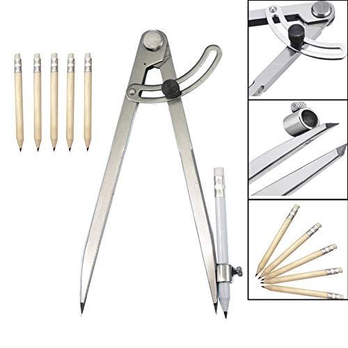 Spitzzirkel 200 mm/8 Zoll, Große Bleistift Markierung Zirkel mit Bleistifthalter für Zeichenkreise, Zimmerei, Metallbearbeitung und Lederverarbeitung