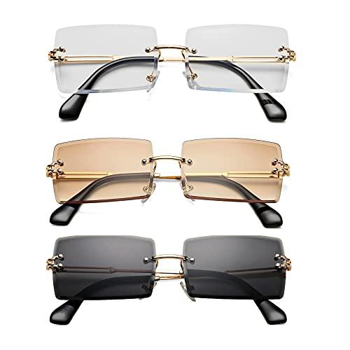3 Pack Rectangle Sunglasses for Men/Women Small Rimless Square Shade Eyewear ( Tea + White + Black )