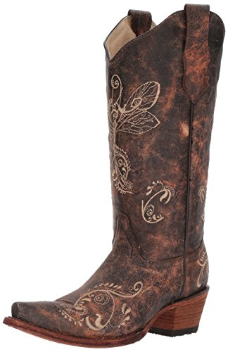 CORRAL Women's L5001 Dragonfly Distressed Embroidered Cowboy Boot