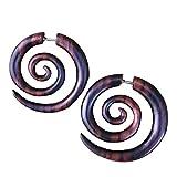 Natural Wooden Tribal Organic Boho Gothic Earrings wood stud spiral earrings for women men
