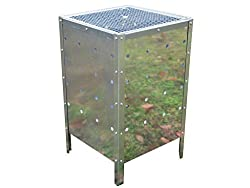 PRIMES LARGE SQUARE GARDEN FIRE BIN INCINERATOR GALVANISED 90L BURNING RUBBISH TRASH