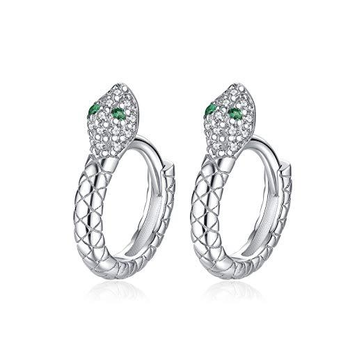 Qings Snake Earrings Sterling Silver Mini Huggie Hoop Earrings Silver Animal Earrings for Women