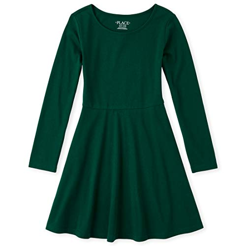 The Children's Place Girls' Big Solid Long Sleeve Pleated Knit Dress, SPRUCESHAD, M (7/8)