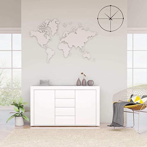 vidaXL Aparador Muebles de Cajones Almacenaje Buffet para Salón Comedor Dormitorio Casa Oficina Hogar de Aglomerado Blanco 120x36x69 cm