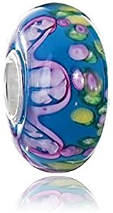 Materia{925} plata abalorios cristal de Murano Colgante Azul Rosa Verde - vidrio Charm para European Beads Pulsera #1487