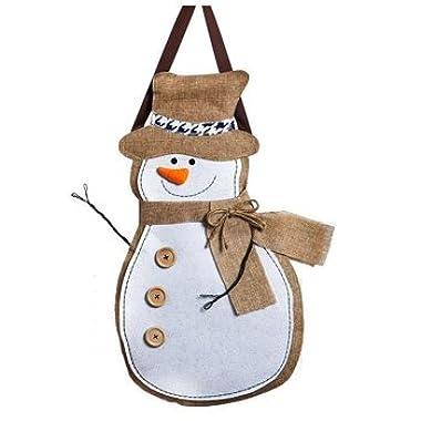 """Evergreen Winter Snowman Hanging Outdoor-Safe Burlap Door Décor - 13.75""""W x 20.75""""H"""