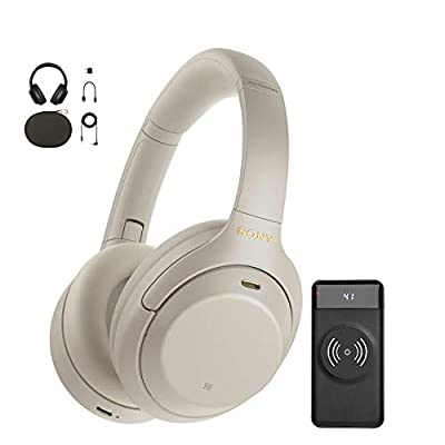 Sony WH-1000XM4 Wireless Noise Canceling Over-Ear Headphones (Silver) with Focus 10,000mAh Ultra-Portable LED Display Wireless Quick Charge Battery Bank Bundle (2 Items)