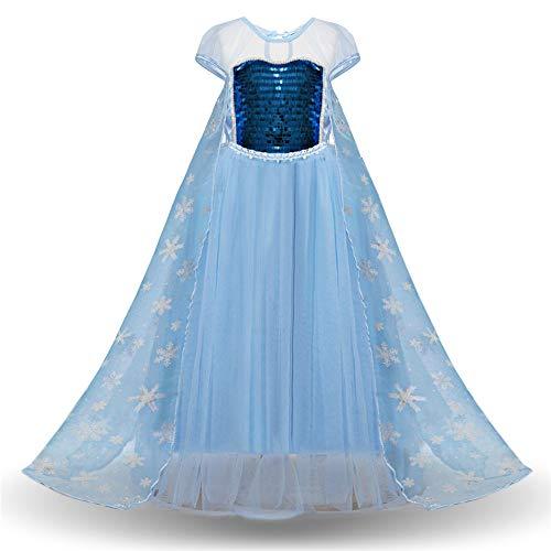 Kanqingqing Meisjesjurk Meisjes Pailletten Koningin Prinses Kostuum Aankleden Korte Mouw Kind Meisjes Verjaardag Feestjurk Met Was Afzonderlijk meisje jurk met lange mouwen