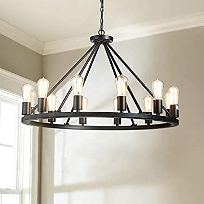 "Saint Mossi Antique Painted Metal Chandelier Lighting Black Finish 12 Lights Chandelier, Diam 32"" inch Pendant Chandelier Island Chandeleir Lighting Rustic Vintage Farmhouse Industrial Country Style"